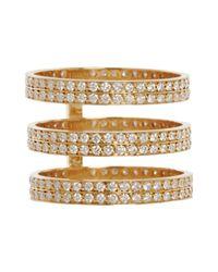Repossi - White Diamond Gold Three Row Berbere Ring - Lyst