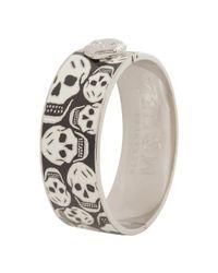 Alexander McQueen - White Enamel Skull Clasp Bangle - Lyst