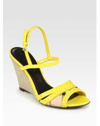 Burberry | Yellow Leather Slingback Espadrille Wedge Sandals | Lyst