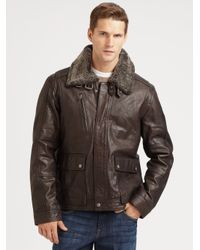Cole Haan | Brown Tumbled Leather Bomber Jacket for Men | Lyst