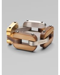 Fendi - Metallic Calfskin Link Bracelet - Lyst