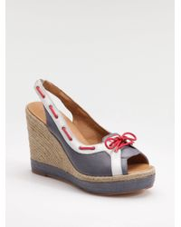 HUNTER - Gray Slingback Wedge Espadrille Sandals - Lyst
