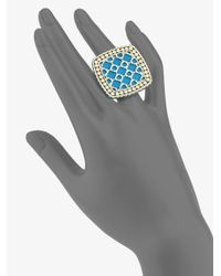 John Hardy   Metallic Turquoise 18k Yellow Gold and Sterling Silver Ringlarge   Lyst