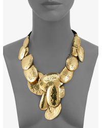 Josie Natori - Metallic Hammered Brass Disc Necklace - Lyst