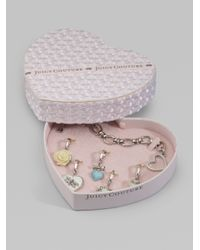 Juicy Couture | Metallic Heart Gift Box Charm Bracelet | Lyst