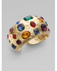 Kenneth Jay Lane - Multicolor Colorful Stone Hammered Cuff Bracelet - Lyst