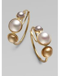 Majorica | Metallic 6Mm, 8Mm & 10Mm Mabe Pearl Hoop Earrings/1 | Lyst
