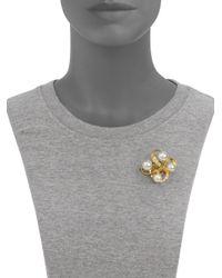 Majorica - Metallic 10mm12mm White Round Pearl 18k Gold Vermeil Swirl Pin - Lyst