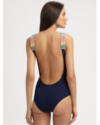 Mara Hoffman - Blue Onepiece Electric Casino Beaded Swimsuit - Lyst