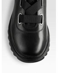 Prada Black Leather Hiker Boots for men