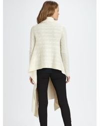 Ralph Lauren Blue Label | Natural Wool and Cashmere Cable-knit Wrap Cardigan | Lyst