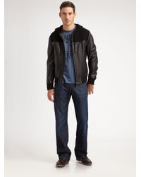 Royal Underground - Black Knit & Leather Bomber for Men - Lyst