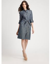 St. John - Blue Denim Safari Dress - Lyst