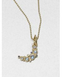 Temple St. Clair | Metallic Royal Blue Moonstone, Diamond, Sapphire & 18k Yellow Gold Small Crescent Moon Pendant | Lyst