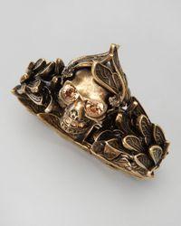 Alexander McQueen | Metallic Golden Winged Skull Bracelet | Lyst