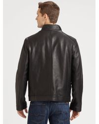 Cole Haan - Black Grainy Leather Moto Jacket for Men - Lyst