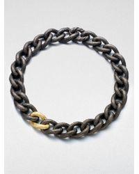 David Yurman - Metallic 18k Gold Sterling Silver Hammered Chain Link Necklace - Lyst