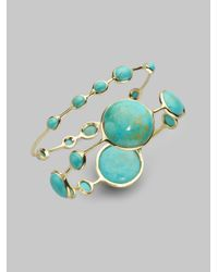 Ippolita | Metallic Rock Candy Turquoise & 18K Yellow Gold Station Bangle Bracelet | Lyst