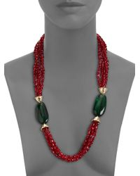 Kenneth Jay Lane - Green Necklace - Lyst