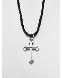 King Baby Studio - Black Traditional Cross Beaded Necklace - Lyst