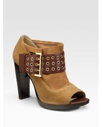 MICHAEL Michael Kors | Brown Peep-toe Ankle Boots | Lyst