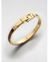 Michael Kors | Metallic Tortoise-Pattern Buckle Bangle Bracelet | Lyst