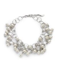 Boutique Moschino | Metallic Faux Pearl Hammered Circle Bib Necklace | Lyst