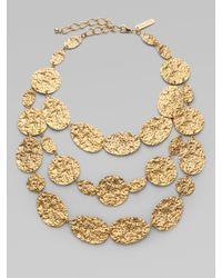 Oscar de la Renta - Metallic Hammered Triple Strand Necklace - Lyst