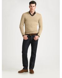 Ralph Lauren Black Label - Natural Cashmere V-neck Sweater for Men - Lyst