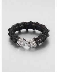 Scott Kay | Black Spike Leather Bracelet for Men | Lyst