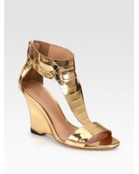 6af59c38519a Lyst - Sigerson Morrison Ruby Metallic Leather Wedge Sandals in Metallic