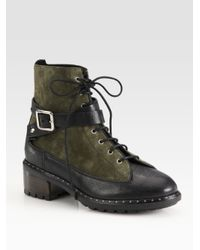 UGG | Green Sassari Leather & Suede Combat Boots | Lyst