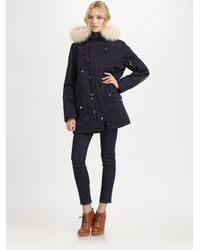 A.P.C. - Blue Fur-trimmed Hooded Parka - Lyst