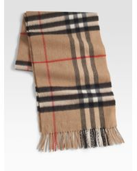 Burberry - Black Cashmere Check Scarf for Men - Lyst
