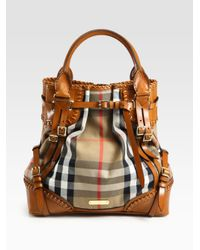 Burberry Prorsum | Brown Whipstitch Leather & Check Canvas Tote Bag | Lyst