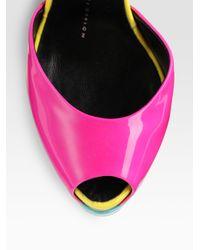 Giuseppe Zanotti - Multicolor Colorblock Patent Leather Peep Toe Platform Pumps - Lyst