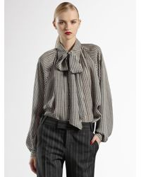 Gucci | Gray Optical-print Silk Blouse | Lyst
