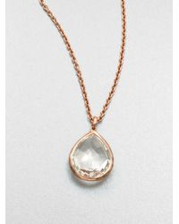 Ippolita   Metallic Rose Rock Candy Clear Quartz Teardrop Pendant Necklace   Lyst