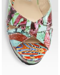 Jimmy Choo | Multicolor Phyllis Printed Leather Sandals | Lyst