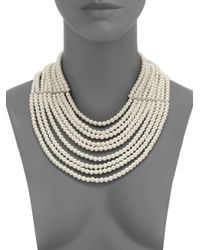 Kenneth Jay Lane | Natural Multistrand Faux Pearl Bib Necklace | Lyst