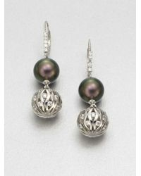Majorica - Metallic 12mm Tahitian Pearl Drop Earrings - Lyst