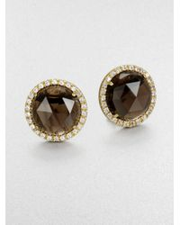 Mija | Metallic Smoky Topaz & White Sapphire Button Earrings | Lyst