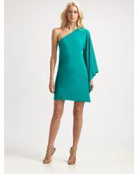 Nicole Miller | Blue Asymmetrical Silk Mini Dress | Lyst