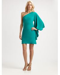 Nicole Miller - Blue Asymmetrical Silk Mini Dress - Lyst