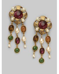 Oscar de la Renta | Metallic Semiprecious Multistone and Baroque Pearl Drop Earrings | Lyst