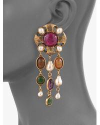 Oscar de la Renta - Metallic Semiprecious Multistone and Baroque Pearl Drop Earrings - Lyst