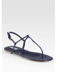 8c32a9d3d Lyst - Prada Patent Leather Thong Sandals in Blue