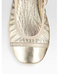 Prada | Metallic Scrunch Ballet Flat | Lyst