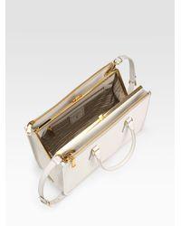 Prada | White Borsa Cerniera Framed Tote Bag | Lyst