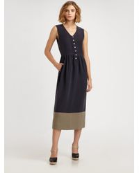 Steven Alan | Blue Doyle Linen and Silk Dress | Lyst